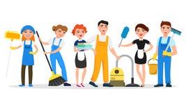 Personaggi dei cartoni animati sorridenti del personale di servizio di pulizia isolati su fondo bianco Uomini e donne vestiti nel illustrazione vettoriale