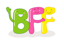Personaggi dei cartoni animati sorridenti svegli dei migliori amici delle lettere BFF per sempre Immagine Stock