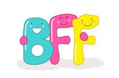 Personaggi dei cartoni animati sorridenti svegli dei migliori amici delle lettere BFF per sempre Immagine Stock Libera da Diritti