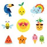 Personaggi dei cartoni animati svegli di estate messi Fotografie Stock