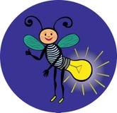 Personaggio allegro di lucciola Lampada elettrica L'indicatore luminoso nello scuro Fotografie Stock Libere da Diritti