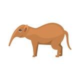 Personaggio dei cartoni animati animale dell'oritteropo isolato su fondo bianco Fotografia Stock Libera da Diritti