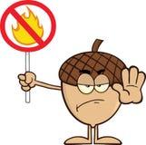 Personaggio dei cartoni animati arrabbiato della ghianda che ostacola un segno dell'ostacolo antincendio Immagini Stock Libere da Diritti