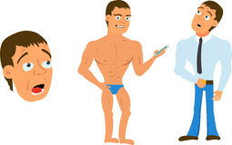 Personaggio dei cartoni animati attrezzato per l'animazione che tiene l'insieme di Smartphone Fotografie Stock