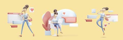 Personaggio dei cartoni animati che si siede su una conversazione della bolla Concetto sociale di media Insieme delle illustrazio illustrazione di stock