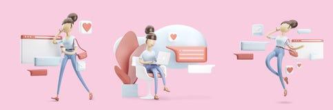 Personaggio dei cartoni animati che si siede su una conversazione della bolla Concetto sociale di media Insieme delle illustrazio illustrazione vettoriale