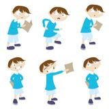 Personaggio dei cartoni animati con il libro del contrassegno Fotografia Stock