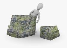 Personaggio dei cartoni animati con la pietra (nascondersi) Fotografia Stock Libera da Diritti