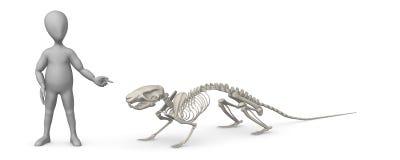 Personaggio dei cartoni animati con lo scheletro del mouse che lo