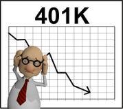 Personaggio dei cartoni animati davanti ad un grafico di riserva Fotografia Stock