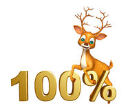 Personaggio dei cartoni animati dei cervi di divertimento con 100%sign Fotografia Stock Libera da Diritti