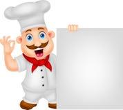 Personaggio dei cartoni animati del cuoco unico con il segno in bianco Fotografia Stock Libera da Diritti