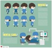 Personaggio dei cartoni animati del dentista ed unità di cure odontoiatriche in ospedale Vettore Progettazione piana Immagine Stock