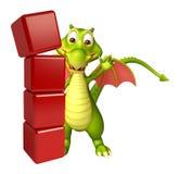 Personaggio dei cartoni animati del drago di divertimento con il livello illustrazione vettoriale