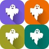 Personaggio dei cartoni animati del fantasma Logo di Halloween isolato bianco Icona piana di progettazione per il libretto, inseg illustrazione di stock