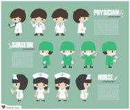 Personaggio dei cartoni animati del medico, del chirurgo e dell'infermiere Vettore Immagine Stock Libera da Diritti