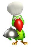 Personaggio dei cartoni animati del pappagallo con il cappello del cuoco unico e della campana di vetro Fotografie Stock