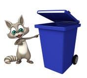 Personaggio dei cartoni animati del procione con la pattumiera Immagine Stock