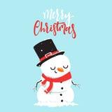 Personaggio dei cartoni animati del pupazzo di neve che gioca lotta della palla di neve con il ragazzino Fotografia Stock