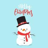 Personaggio dei cartoni animati del pupazzo di neve che gioca lotta della palla di neve con il ragazzino Fotografie Stock