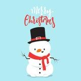 Personaggio dei cartoni animati del pupazzo di neve che gioca lotta della palla di neve con il ragazzino Fotografia Stock Libera da Diritti