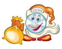 personaggio dei cartoni animati del tipo di Santa del CD-fronte Fotografia Stock