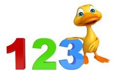 Personaggio dei cartoni animati dell'anatra con il segno 123 Immagini Stock