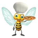 Personaggio dei cartoni animati dell'ape con il cappello del cuoco unico e della pizza Immagine Stock