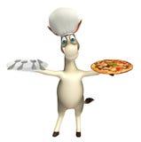 Personaggio dei cartoni animati dell'asino con il cappello del cuoco unico del plateand della cena della pizza Fotografie Stock