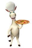 Personaggio dei cartoni animati dell'asino con il cappello del cuoco unico e della pizza Fotografia Stock Libera da Diritti