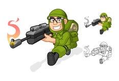 Personaggio dei cartoni animati dell'esercito che tende una pistola del fucile con la posa del tiro Fotografia Stock