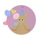 Personaggio dei cartoni animati dell'illustrazione di vettore del giocattolo di Teddy Bear fondo divertente per il partito, il co Immagine Stock