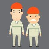 Personaggio dei cartoni animati dell'ingegnere dell'uomo anziano e del giovane Fotografia Stock