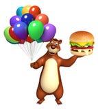 Personaggio dei cartoni animati dell'orso con il pallone e il berger Fotografia Stock Libera da Diritti