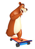 Personaggio dei cartoni animati dell'orso con skatter Fotografia Stock