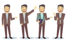 Personaggio dei cartoni animati dell'uomo d'affari nelle pose differenti per l'insieme di vettore di presentazione di affari Immagine Stock Libera da Diritti
