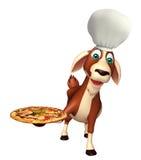Personaggio dei cartoni animati della capra con il cappello e la pizza del cuoco unico Immagine Stock Libera da Diritti