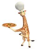 Personaggio dei cartoni animati della giraffa di divertimento con il cappello del cuoco unico e della pizza Fotografie Stock Libere da Diritti