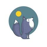 Personaggio dei cartoni animati della luna piena e di Gray Wolf Fotografia Stock