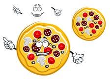 Personaggio dei cartoni animati della pizza di merguez degli alimenti a rapida preparazione Immagine Stock