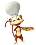 Personaggio dei cartoni animati della scimmia con il cappello del cuoco unico e della pizza Fotografie Stock