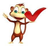 Personaggio dei cartoni animati della scimmia con il giusto segno royalty illustrazione gratis