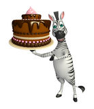 Personaggio dei cartoni animati della zebra con il dolce Fotografie Stock Libere da Diritti