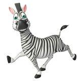 Personaggio dei cartoni animati della zebra di funzionamento di divertimento Immagini Stock