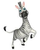 Personaggio dei cartoni animati della zebra di salto di divertimento Fotografie Stock