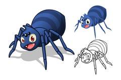 Personaggio dei cartoni animati dettagliato del ragno con progettazione e linea piana Art Black e versione bianca Fotografia Stock