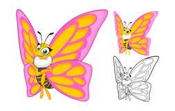Personaggio dei cartoni animati dettagliato della farfalla con progettazione e linea piana Art Black e versione bianca Immagine Stock