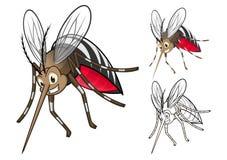 Personaggio dei cartoni animati dettagliato delle zanzare con progettazione e linea piana Art Black e versione bianca Fotografia Stock
