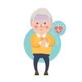 Personaggio dei cartoni animati di attacco di cuore dell'uomo anziano Fotografia Stock
