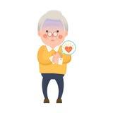 Personaggio dei cartoni animati di attacco di cuore dell'uomo anziano Immagini Stock